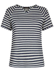 Jaeger Texture Stripe T Shirt White Blue
