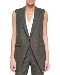 Theory Flavio Torrey Check Vest Black White