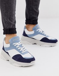 Selected Homme Premium Leather Chunky Trainer In Blue