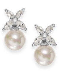 Majorica Sterling Silver Organic Man Made Pearl Butterfly Stud Earrings
