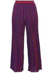 Missoni Woman Cropped Metallic Crochet Knit Straight Leg Pants Purple