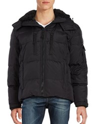 S13 Faux Fur Trimmed Insulated Quilted Parka Black