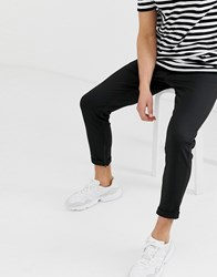 Selected Homme Slim Tailored Jersey Trousers With Zip Opening In Ankle Length Black