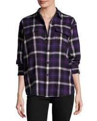 Ralph Lauren Cooper Wool Cashmere Shirt Purple Pattern