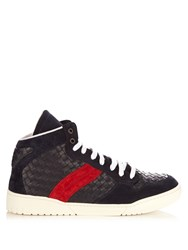 Bottega Veneta Intrecciato High Top Leather And Suede Trainers Navy Multi