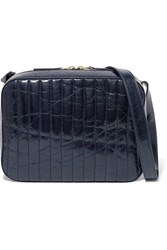 Victoria Beckham Quilted Textured Leather Camera Bag Midnight Blue