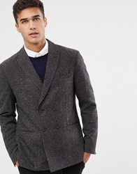 Selected Homme Slim Fit Double Breasted Blazer With Fine Grid Check Dark Brown Melange