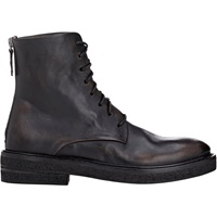 Leather Back Zip Boots Black