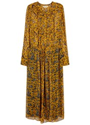 Etoile Isabel Marant Baphir Printed Silk Chiffon Midi Dress Yellow