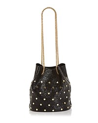 Street Level Embellished Drawstring Bucket Bag Black Gold