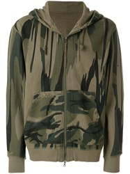 Mhi Maharishi Camouflage Print Zip Up Hoodie Organic Cotton Green