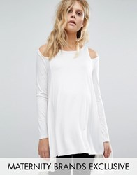 Bluebelle Maternity Cut Out Shoulder Long Sleeve Jersey Top White