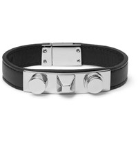 Saint Laurent Leather Silver Tone Bracelet Black
