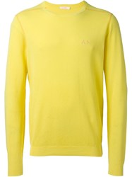 Sun 68 'Giro' Sleeve Trim Detail Jumper Yellow And Orange