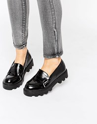 Truffle Collection Chunky Sole Loafer Black Box Pu