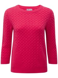 Pure Collection Bree Cashmere Cable Jumper Sweet Pink