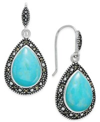 Macy's Manufactured Turquoise And Marcasite Teardrop Drop Earrings In Silver Plate Blue