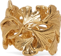 Aurelie Bidermann Gold Plated Ginkgo Leaves Ring