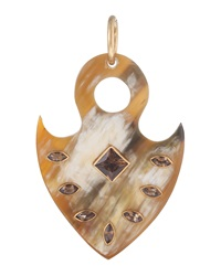 Ashley Pittman Tribal Shield Pendant W Whiskey Topaz Light Horn