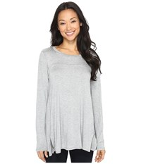 B Collection By Bobeau Jade High Low Hem Top Heather Grey Women's Long Sleeve Pullover Gray