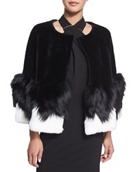 Halston Short Mixed Fur Jacket Black Egg