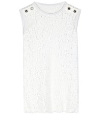 Dolce And Gabbana Embellished Lace Top White