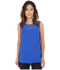 Vince Camuto Sleeveless Blouse W Chiffon Yoke Sapphire Women's Blouse Blue