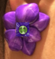 Sabbadini Purple Curved Flower Earrings With Green Peridot