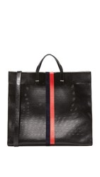 Clare V. Perf Simple Tote Black Navy Red