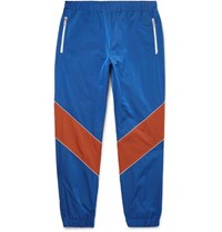 Gucci Tapered Colour Block Shell Trousers Blue