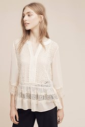 Anthropologie Laced Henley Blouse White