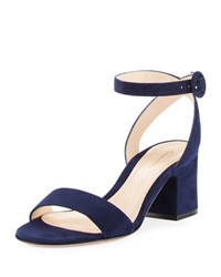 Gianvito Rossi Suede Block Heel Ankle Strap Sandal Blue