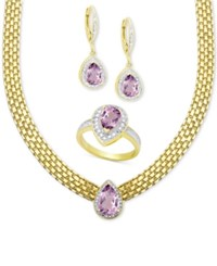 Victoria Townsend Amethyst 5 1 2 Ct. T.W. And Diamond 1 10 Ct. T.W. Jewelry Set In 18K Gold Plated Brass Yellow Gold