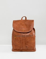 Asos Design Soft Backpack With Zip Detail Tan