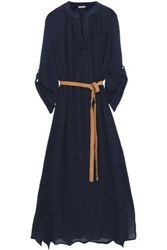 Eberjey Woman Haven Summer Of Love Bamboo And Cotton Blend Gauze Midi Dress Navy