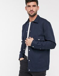 Selected Homme Twill Smart Shirt Jacket In Navy