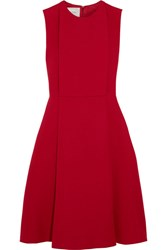 Valentino Pleated Wool And Silk Blend Crepe Dress Red
