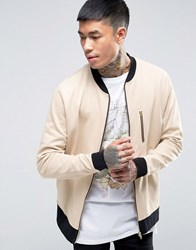 Asos Jersey Bomber Jacket With Zip Pocket And Contrast Ribs Oxford Tan Beige