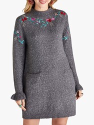 Yumi Embroidered Floral Knit Tunic Grey Marl