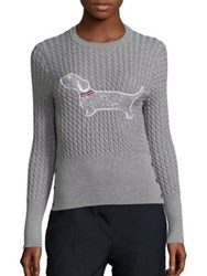 Thom Browne Cable Knit Dog Sweater Light Grey