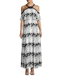 Taylor Embroidered Chiffon Cold Shoulder Maxi Dress White Black