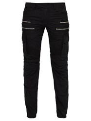 Balmain Biker Style Cotton Blend Cargo Trousers Black