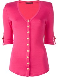 Balmain Button Front Knitted Top Pink Purple