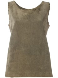 Yves Saint Laurent Vintage Leather Tank Top Green