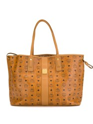 Mcm Canvas Shopper Bag Yellow And Orange
