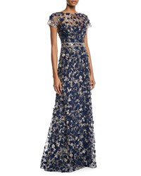 David Meister Short Sleeve 3D Floral Embroidered Gown Navy