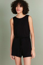 Silence And Noise Rib Knit Plunge Back Romper Black