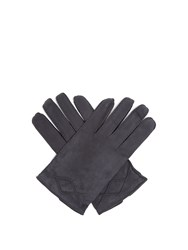 Dunhill Stitch Detail Nubuck Leather Gloves Navy
