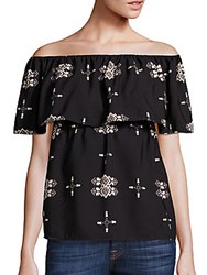 Collective Concepts Off The Shoulder Printed Top Black White
