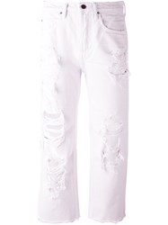 Alexander Wang Distressed Cropped Jeans White